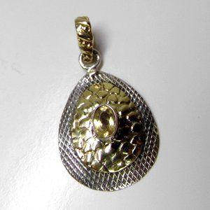 Genuine CITRINE Sterling Silver Two tone Pendant